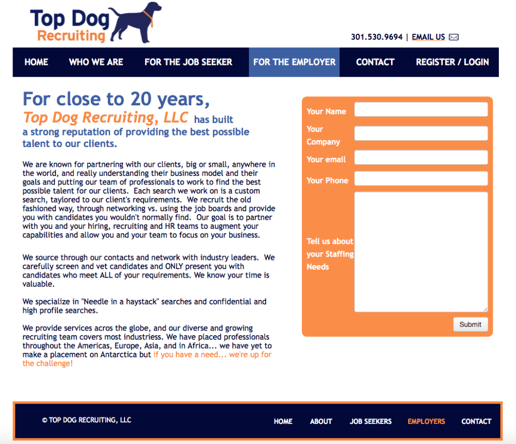 Top Dog Recruiting Website Design by BasicallyRed, Stevie Caldarola