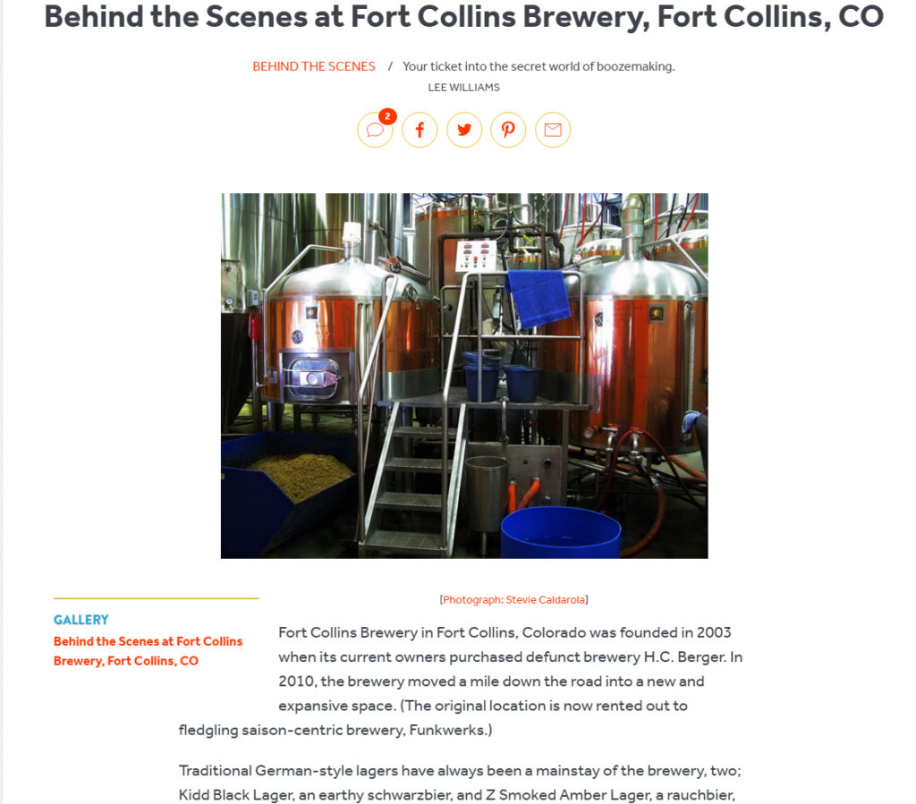 Serious Eats article on Fort Collins Brewery by Lee Williams, Photographs by BasicallyRed