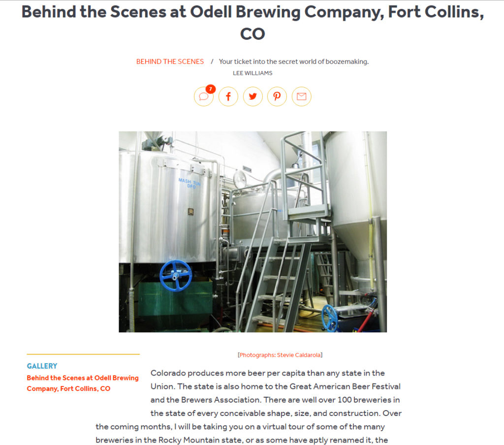 Serious Eats article on Odell Brewing by Lee Williams, Photographs by BasicallyRed
